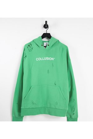 COLLUSION Unisex oversized ripped logo hoodie in green (Part of a set)