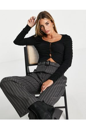 River Island Long sleeve ruched button up cardi in
