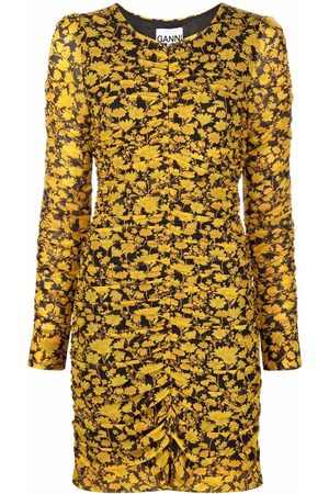 Ganni Women Printed Dresses - Floral-print mesh dress
