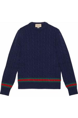 Gucci Web-stripe cable-knit jumper