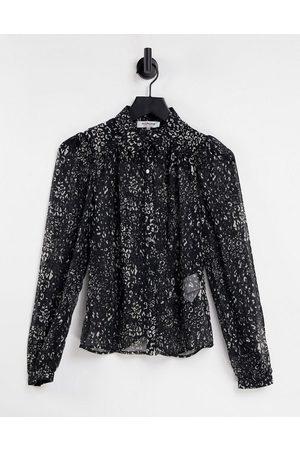 Morgan Sheer shirt in black ditsy print