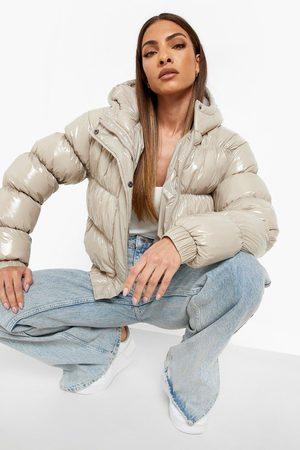 Boohoo Women Winter Jackets - High Shine Hooded Puffer