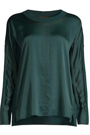 Donna Karan Pieced Long-Sleeve Sweater Tee