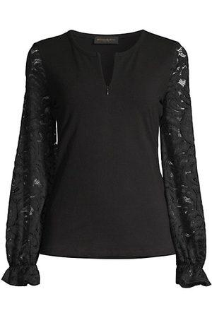 Donna Karan Women Hoodies - Lace Sleeve Zip-Up Top