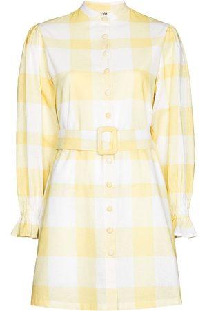 Ambra Maddalena Women Evening Dresses - Sammi gingham long-sleeve minidress