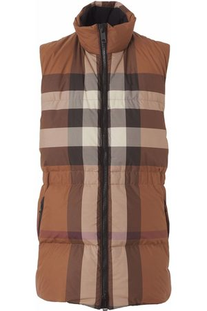 Burberry Women Gilets - Check pattern padded gilet