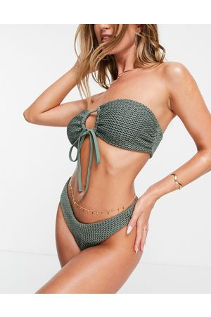 ASOS DESIGN Mix and match crochet tie-front bandeau bikini top in -Green
