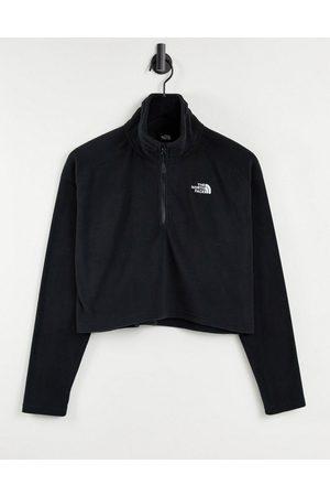 The North Face 100 Glacier 1/4 zip cropped fleece in black