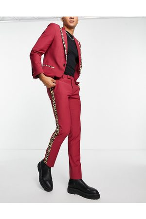 Twisted Tailor Suit pants in with leopard print side stripe-Black