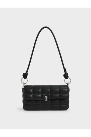 CHARLES & KEITH Women Shoulder Bags - Chunky Chain Handle Quilted Shoulder Bag