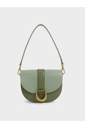 CHARLES & KEITH Women Shoulder Bags - Gabine Two-Tone Saddle Bag