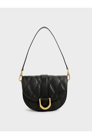 CHARLES & KEITH Women Shoulder Bags - Gabine Quilted Saddle Bag