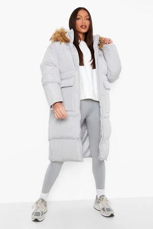Boohoo Tall Faux Fur Trim Longline Puffer