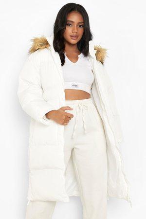 Boohoo Women Winter Jackets - Faux Fur Trim Longline Puffer