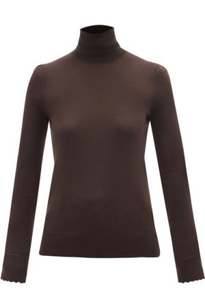 Chloé Roll-neck Pleated-shoulder Wool Sweater - Womens