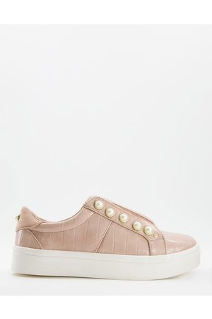 Miss KG Kassie pearl lace-up trainers with pearl detail in