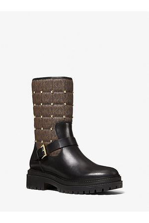 Michael Kors Women Ankle Boots - MK Layton Studded Quilted Logo and Leather Boot - Blk/ - Michael Kors