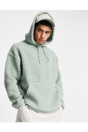 ASOS Oversized hoodie in green teddy borg