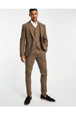 ASOS Wedding skinny wool mix suit pants in herringbone-Neutral