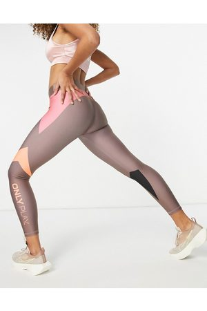Only Play Cropped sports performance leggings in colourblock (part of a set)