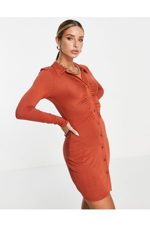 River Island Ruched front jersey shirt dress in red