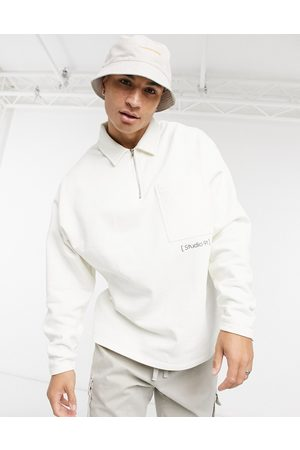 ASOS DESIGN Co-ord oversized heavyweight sweatshirt in white with small print detail
