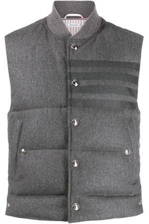 Thom Browne Men Gilets - 4-Bar down-filled flannel gilet
