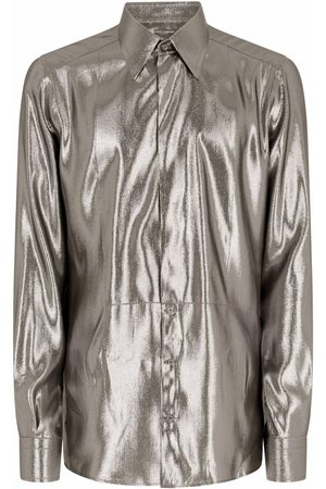 Dolce & Gabbana Men Long sleeves - Metallic-sheen long-sleeve shirt