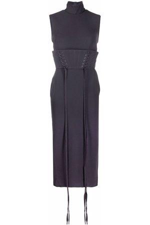 ALEX PERRY Women Belts - Laced-belt high-neck dress