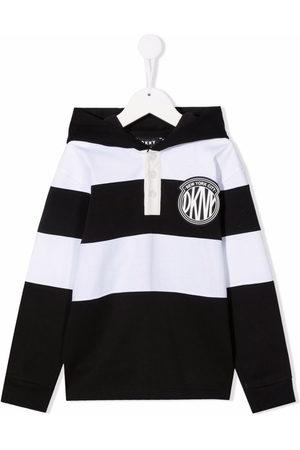 DKNY Striped logo-print hoodie