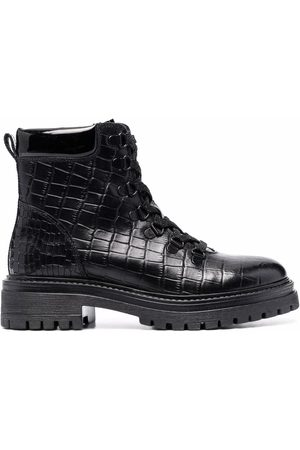 Geox Croc effect lace-up boots