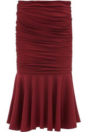 Stella McCartney Henley Fluted-hem Jersey Midi Skirt - Womens - Burgundy