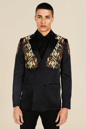 Boohoo Men Blazers - Mens Slim Satin Embroidered Double Breasted Blazer