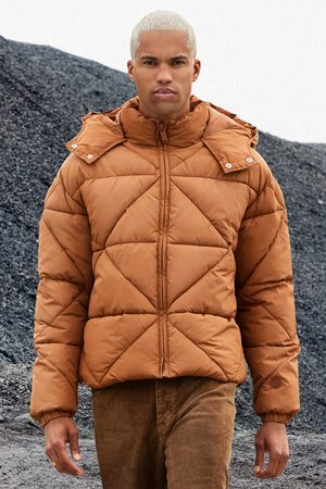 Boohoo Men Winter Jackets - Mens Rust Abstract Quilted Puffer