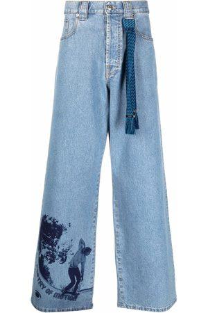 Lanvin Denim graphic-print trousers