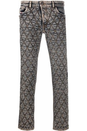 Diesel Low-rise diamond-embroidered jeans