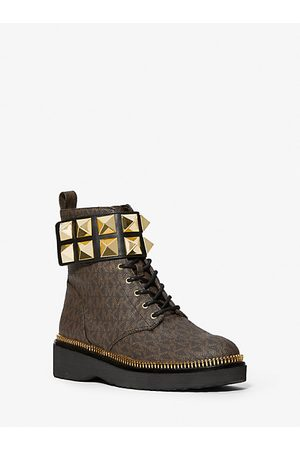 Michael Kors MK Haskell Studded Leather and Logo Combat Boot - - Michael Kors
