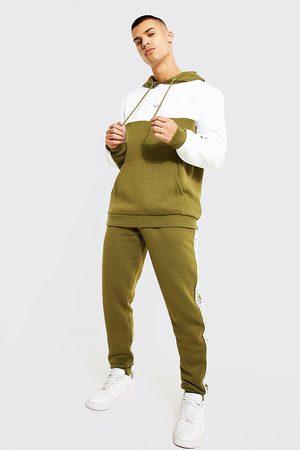 Boohoo Mens Khaki Original Man Colour Block Hooded Tracksuit