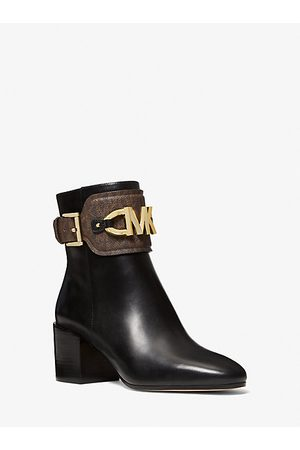 Michael Kors Women Ankle Boots - MK Izzy Leather and Logo Ankle Boot - Blk/ - Michael Kors