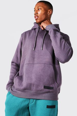 Boohoo Men Sweatshirts - Mens Charcoal Over The Head Hoodie With Rubber Tab