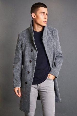 Boohoo Men Trench Coats - Mens Charcoal Funnel Neck Herringbone Overcoat