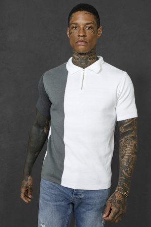 Boohoo Men Polo Shirts - Mens Charcoal Short Sleeve Half Zip Colour Block Knit Polo