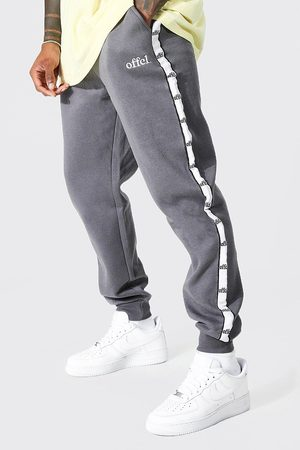 Boohoo Men Joggers - Mens Charcoal Regular Fit Joggers With Offcl Side Tape