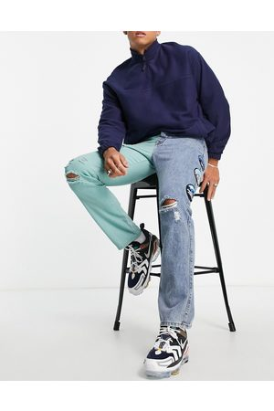 Liquor N Poker Straight leg jeans in blue and green with leg patches and embroidery (part of a set)