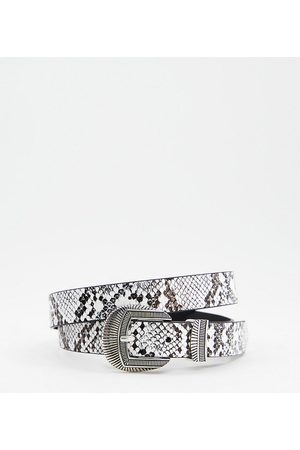 Glamorous Exclusive waist and hip jeans belt in snake with silver western buckle-Multi