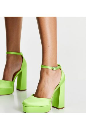 ASOS Wide Fit Priority platform high-heeled shoes in lime-Green