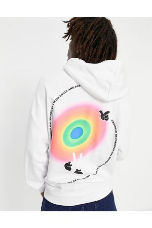 Crooked Tongues Oversized hoodie with vortex swirl back graphic print in