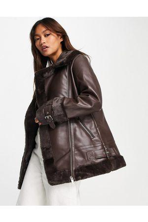 River Island Faux fur aviator jacket in -Black