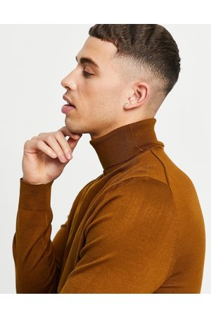 Only & Sons Roll neck jumper in tan-Brown