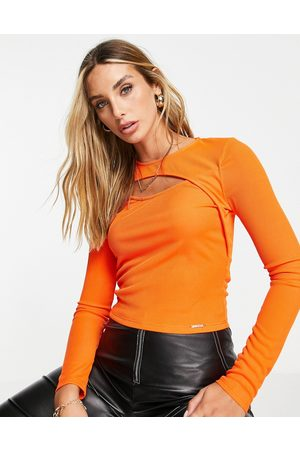 River Island Long sleeve cut out front top in -Green